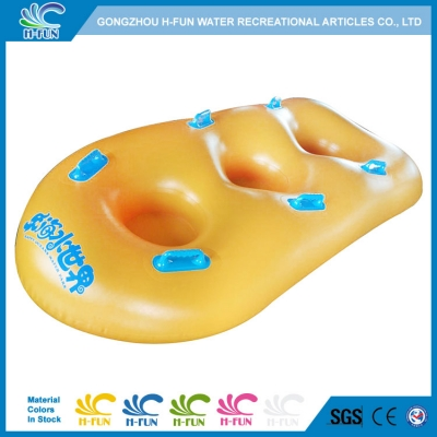 Water park triple tube with bottom
